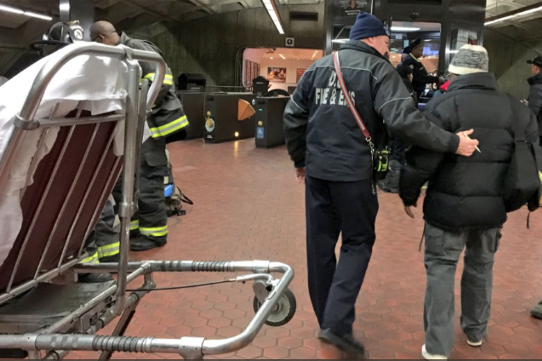 All passengers from the derailed Metro train were assessed as they arrived at the Metro Center platform. (Courtesy DC Fire & EMS)
