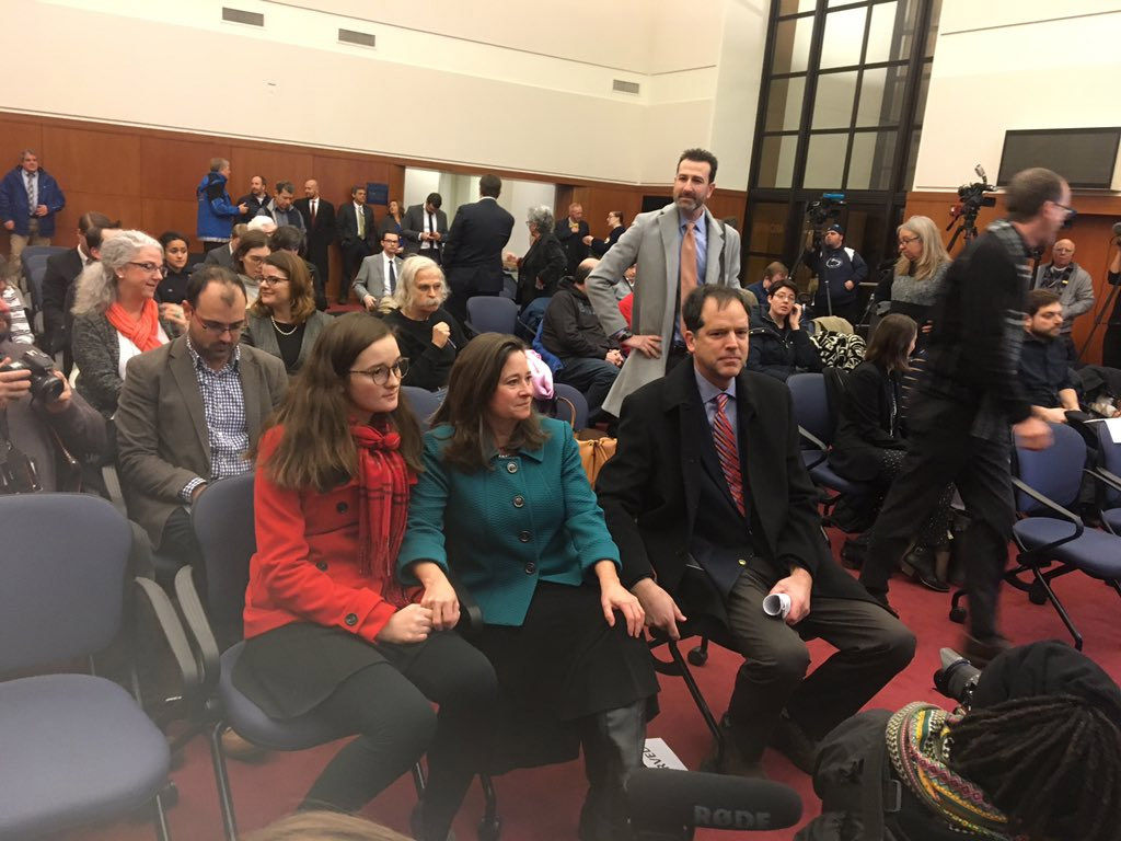 Democrat Shelly Simonds awaits a drawing to determine the winner in the disputed 94th District House race on Thursday, Jan. 4, 2018 in Richmond. (WTOP/Max Smith)