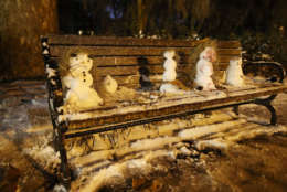 SAVANNAH, GA - JANUARY 04: Little snowmen are seen on a bench in Forsyth Park as snow and cold weather blanket the area on January 4, 2018 in Savannah, Georgia. The extreme winter storm pummeled the Southeastern United States and is moving towards the east coast with frigid temperatures and heavy wind and snow.  (Photo by Joe Raedle/Getty Images)