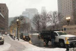 WTOP's Steve Dresner captured a photo of a snowy Boston street on Thursday. (WTOP/Steve Dresner)