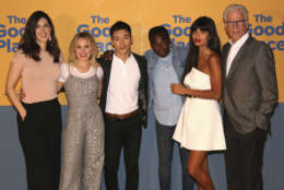 """D'Arcy Carden, from left, Kristen Bell, Manny Jacinto, William Jackson Harper, Jameela Jamil and Ted Danson arrive at the """"The Good Place"""" FYC Event on Monday, June 12, 2017, in Los Angeles. (Photo by Willy Sanjuan/Invision/AP)"""