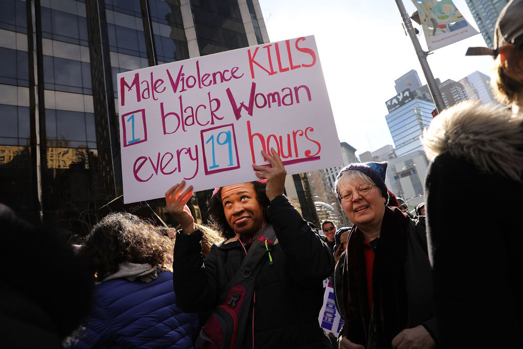 NEW YORK, NY - JANUARY 20:  Thousands hold signs and rally while attending the WomenÕs March on January 20, 2018 in New York, United States. Across the nation hundreds of thousands of people are marching on what is the one-year anniversary of President Donald Trump's swearing-in to protest against his past statements on women and to celebrate womenÕs rights around the world.  (Photo by Spencer Platt/Getty Images)