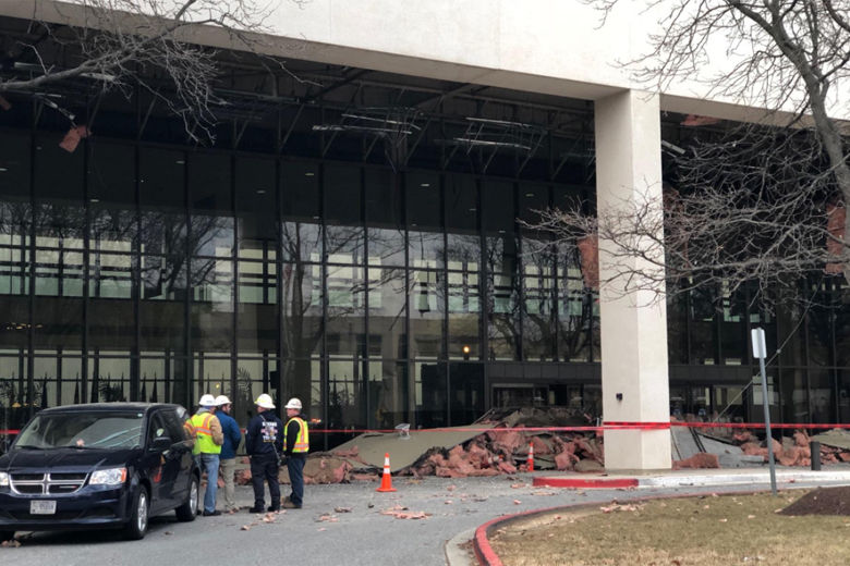 Photo shows a collapsed roof at Walter Reed