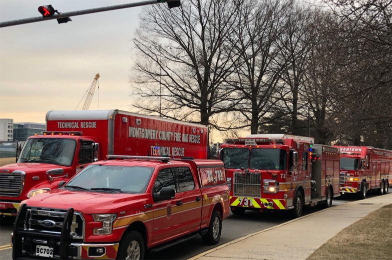 Photo shows Montgomery County fire tricks and rescue units