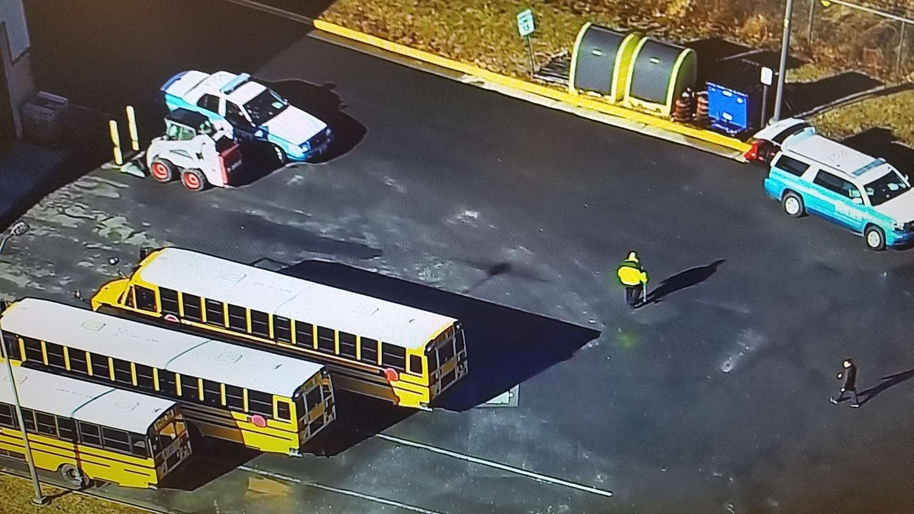 The scene where a bus driver was struck by a Prince William County school bus in Bristow, Virginia. (NBC Washington)