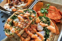 Slapfish's grilled shrimp burrito. The seafood restaurant plans to open its first D.C.-area location in Rockville in June. (Courtesy Slapfish)
