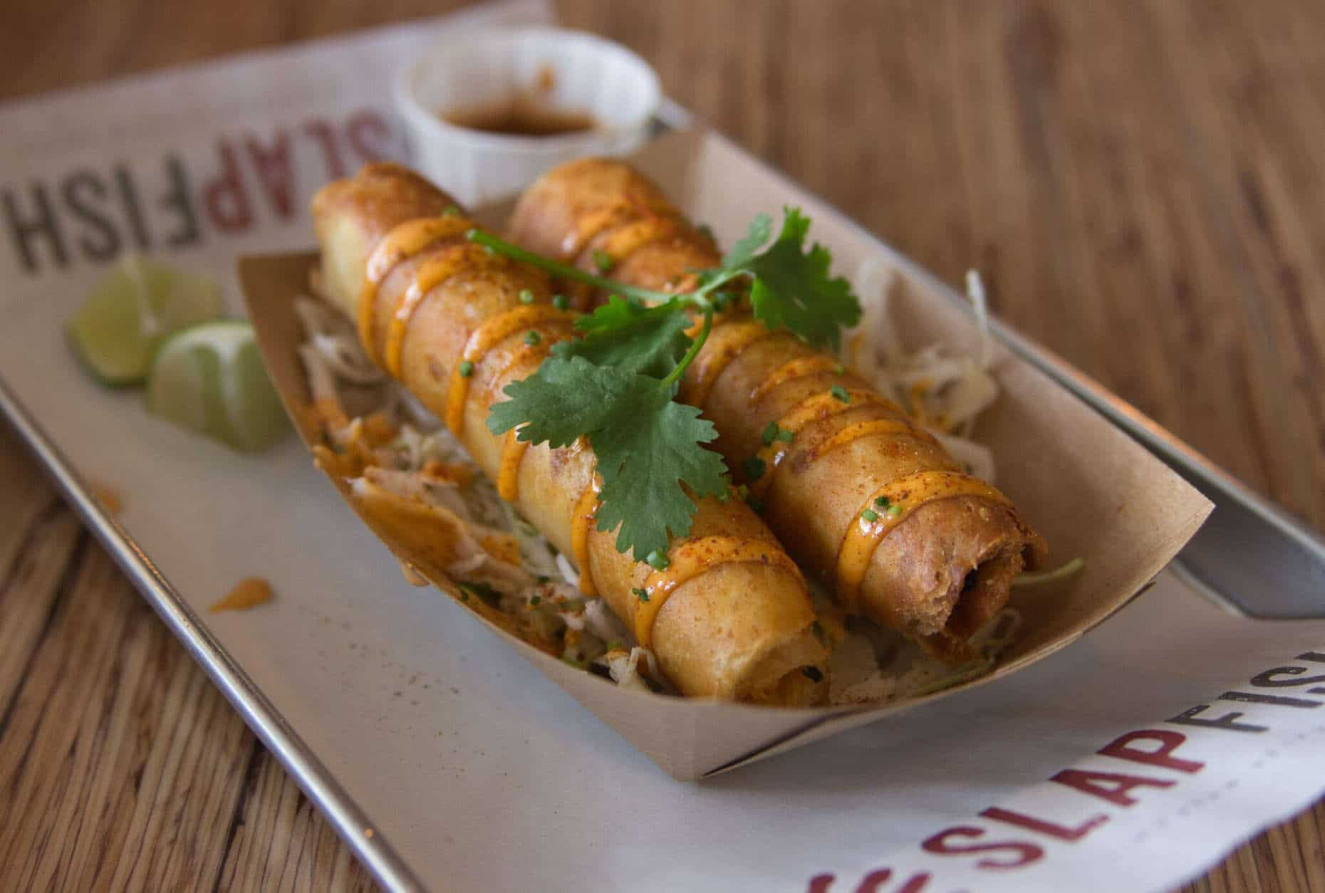A glimpse of the lobster taquitos. (Courtesy Slapfish)