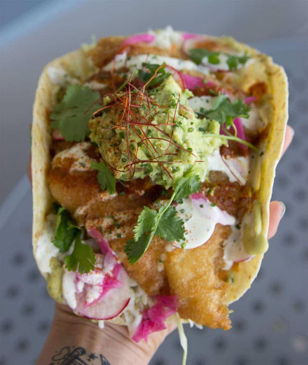The two-handed fish tacos. (Courtesy Slapfish)