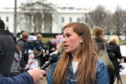 Whitney Bowen, a 16-year-old sudent from Northern Virginia, helped organize the demonstration in front of the White House. (WTOP/Kate Ryan)
