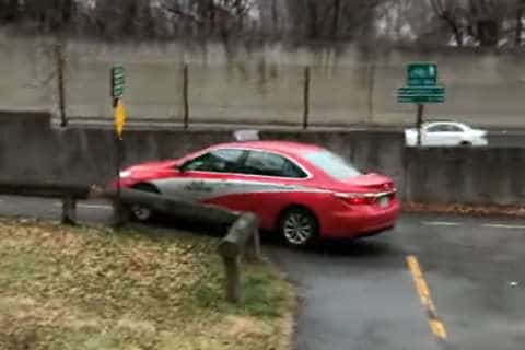 Video: DC taxi drives onto Custis Trail