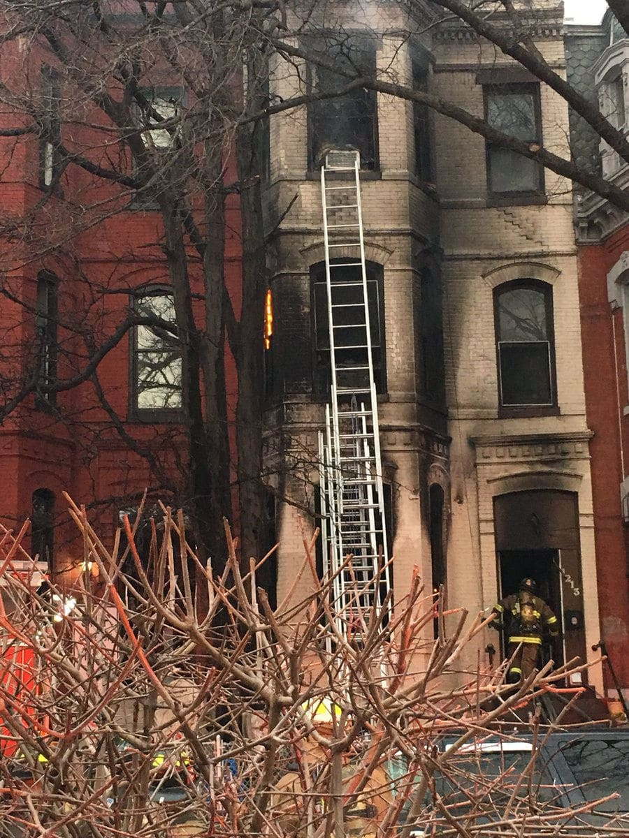 The fire started just before 7 a.m. at a house in the 1200 block of Rhode Island Avenue in Northwest D.C. (Courtesy D.C. Fire and EMS)