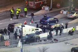 Authorities investigate the scene of Wednesday's shooting near NSA HQ in Maryland. (NBC Washington)
