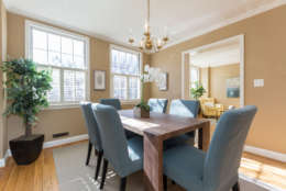 The dining room of 3419 Q Street NW. JFK met his wife, Jackie Bouvier in this house at a dinner party thrown by Charles and Martha Bartlett in May 1951. (Courtesy Sean Shanahan)