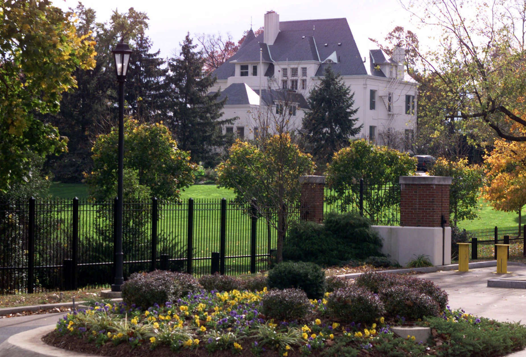 The vice president's residence at the Naval Observatory in Washington is shown in a Nov. 11, 2000 photo. Settling in on the hill once known as Pretty Prospect, the Cheneys have put their own stamp on the white brick Victorian. (AP Photo/J Scott Applewhite)