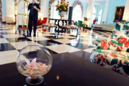 ** FOR IMMEDIATE RELEASE **Flowers are placed on a table in the main lobby to The Greenbrier resort and spa Tuesday, July 31, 2007, in White Sulphur Springs, W.Va. As part of a $50 million renovation aimed at attracting the next generation of luxury traveler and a more sophisticated diner, The Greenbrier has gone modern. (AP Photo/Jeff Gentner)