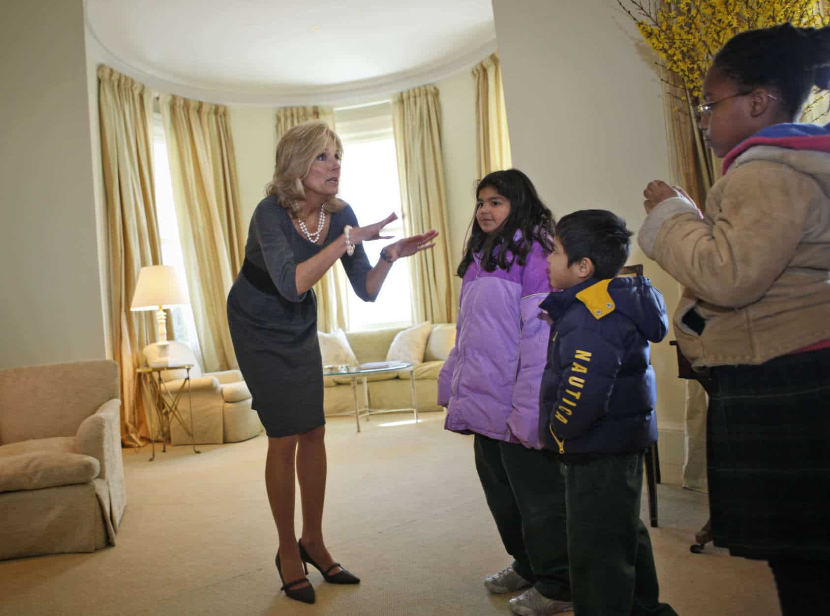 Jill Biden, wife of Vice President Joe Biden opens their new home at the U.S. Naval Observatory, to elementary school children from across the D.C. area, Wednesday, Jan. 21, 2009, in Washington. (AP Photo/Lawrence Jackson)