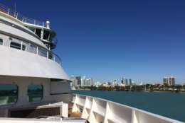 This Jan. 4, 2018 photo shows a view from the deck of the Seabourn Sojourn cruise ship in the port of Miami. A panel of cruise experts from CruiseCritic.com, the Miami Herald and the Cruise Lines International Association gathered on the Sojourn in a forum moderated by The Associated Press to discuss issues and trends in the cruise industry with a live audience of cruise passengers. (AP Photo/Beth J. Harpaz)