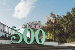 "This undated photo shows a ""NOLA 300"" sculpture in Washington Artillery Park in New Orleans. The 7-foot-tall structure is one of several on display around the city in honor of New Orleans' tricentennial, which is being celebrated throughout 2018. (Paul Broussard/New Orleans Tourism Marketing Corporation via AP)"