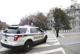 17th Street NW near the White House in Washington is closed as Secret Service officer after a vehicle rammed into a security barrier near the White House, Friday, Feb. 23, 2018, in Washington. (AP Photo/Pablo Martinez Monsivais)