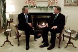 President-elect Bush, left, meets with Vice President Al Gore in the living room of the vice presidential residence in Washington, Tuesday, Dec. 19, 2000. Tuesday's fireside talk lasted just 15 minutes, hardly long enough to close the breach opened during a hard-fought campaign and rancorous postelection tussle.(AP Photo/Doug Mills, POOL)