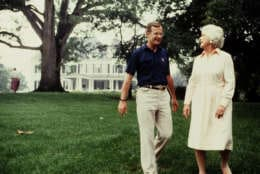 Vice President George H.W. Bush and Barbara Bush relax at the Vice President's mansion in August 1982.  Photograph by Dennis Brack BBBs 20