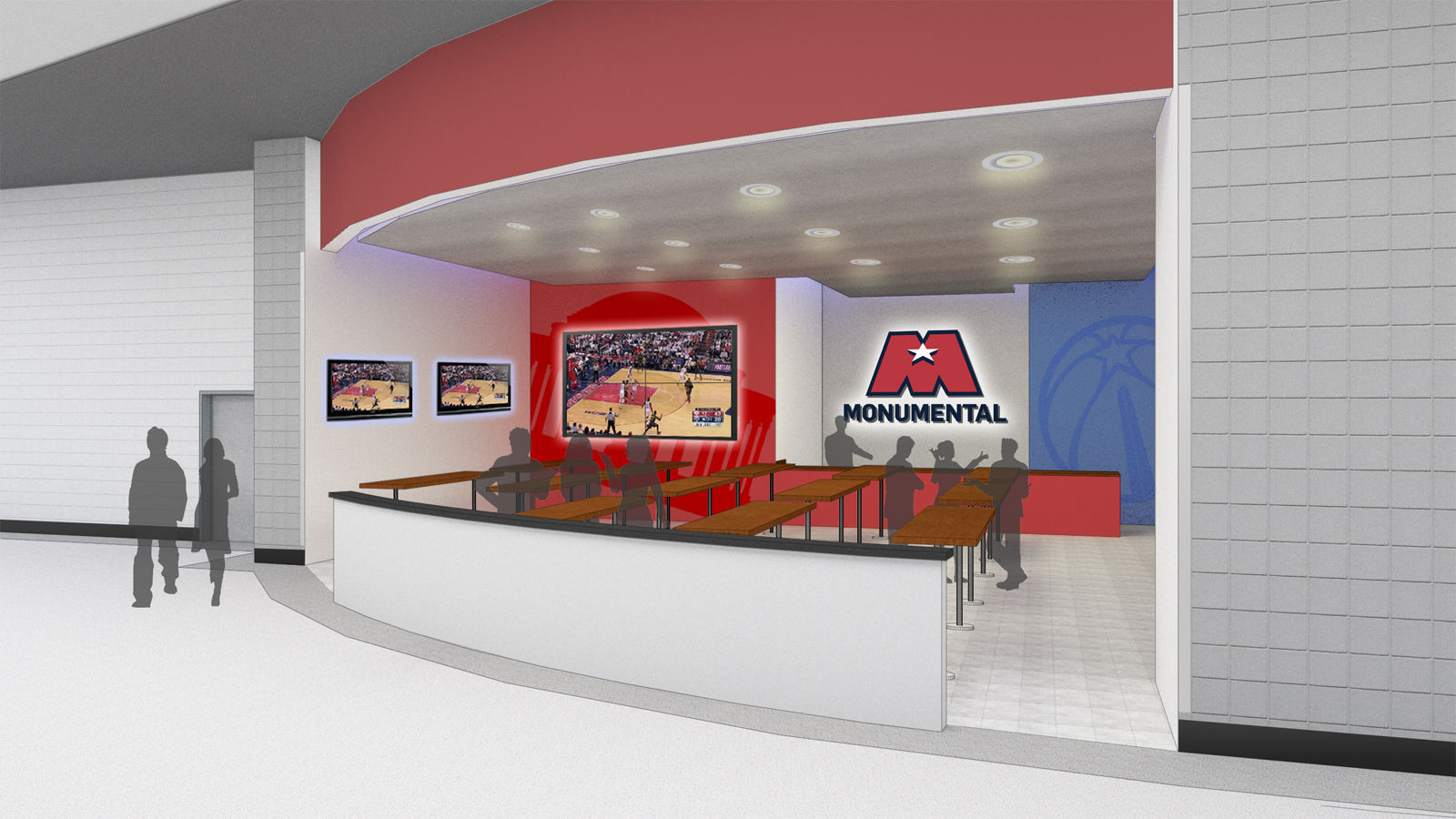 """The concourses on the 100 and 400 levels will get a complete makeover, including new flooring, new lighting, and what Monumental calls a """"sleek new decor."""" (Courtesy Gensler Sports)"""