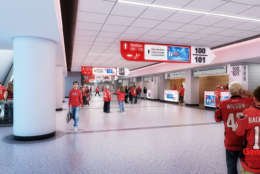 In addition to the renovated concourses, improvements will include padded seats with cup holders throughout the arena beginning in the Capitals and Wizards 2018-2019 season and a new sound system. (Courtesy Gensler Sports)