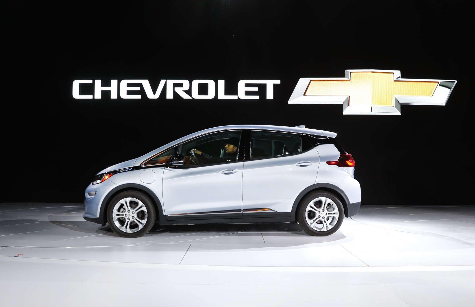 The Chevrolet Bolt, winner of the North American Car of the Year award, is on display at the North American International Auto Show in Detroit, Monday, Jan. 9, 2017. (AP Photo/Paul Sancya)