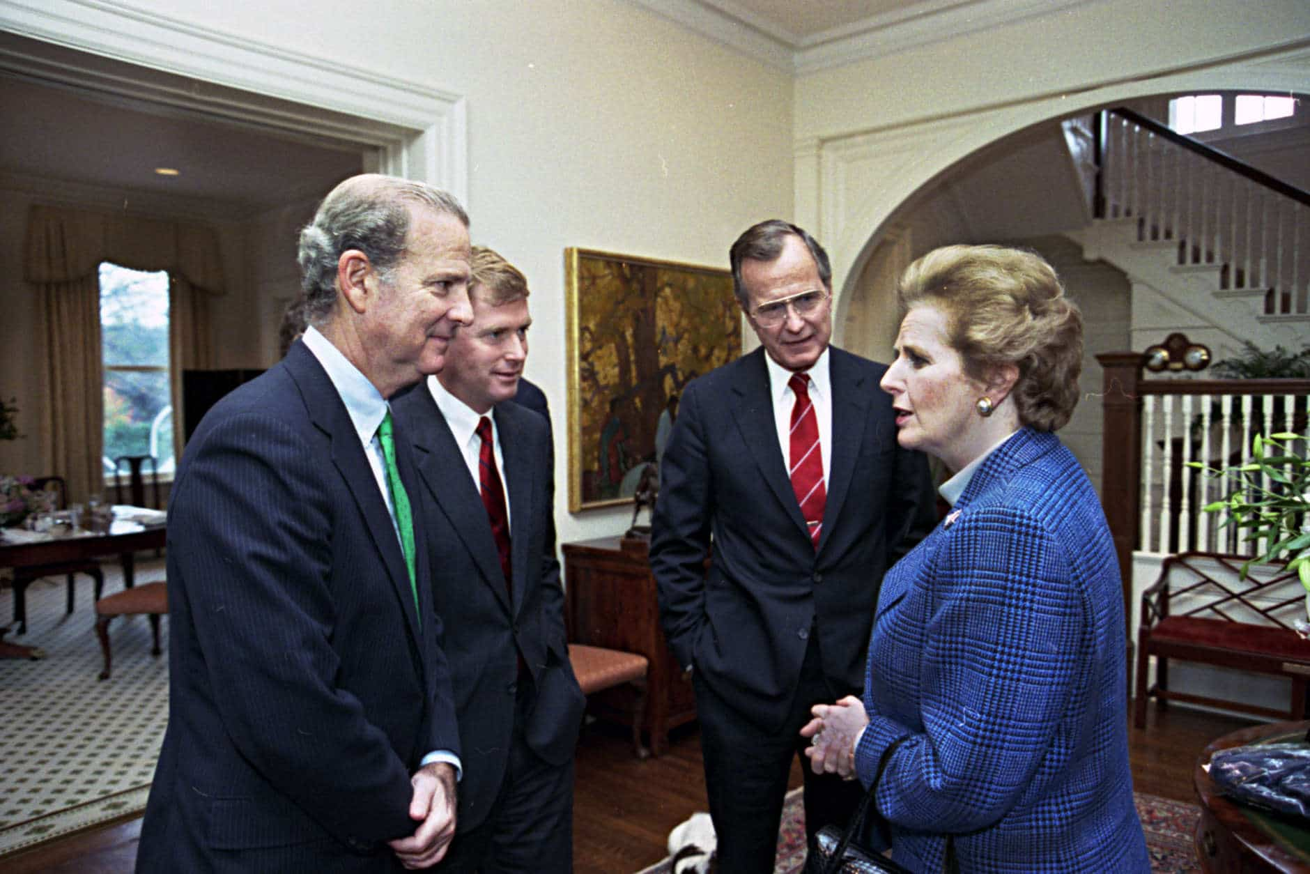 G23234-05  President-elect Bush meets with British Prime Minister Margaret Thatcher at the Vice President's residence. 17 November 1988 Photo credit:  David Valdez
