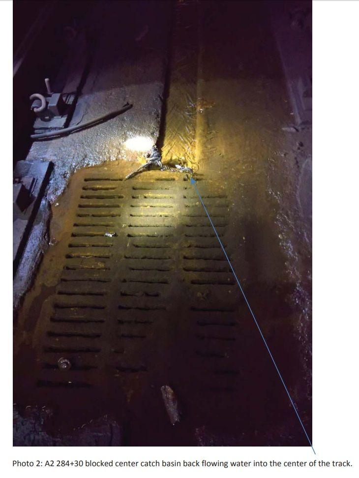 Blocked catch basin on Metro's Red Line between Friendship Heights and Van Ness. (Photo courtesy FTA)
