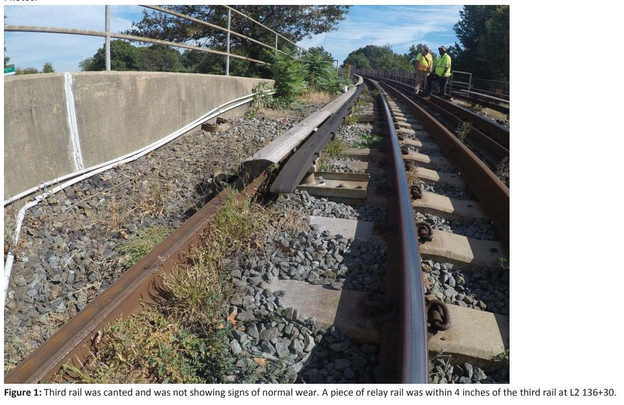 Photo of a third rail issue on Metro's Yellow Line. (Photo courtesy FTA)