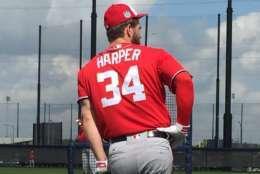 Bryce Harper is entering his final year before free agency. (WTOP/Jonathan Warner)