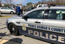 A Prince George's County police cruiser at the scene. (WTOP/Megan Cloherty)