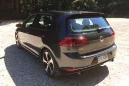 The GTI model also has unique front and rear bumpers and the red brake calipers hide behind larger 18-inch wheels. (WTOP/Mike Parris)