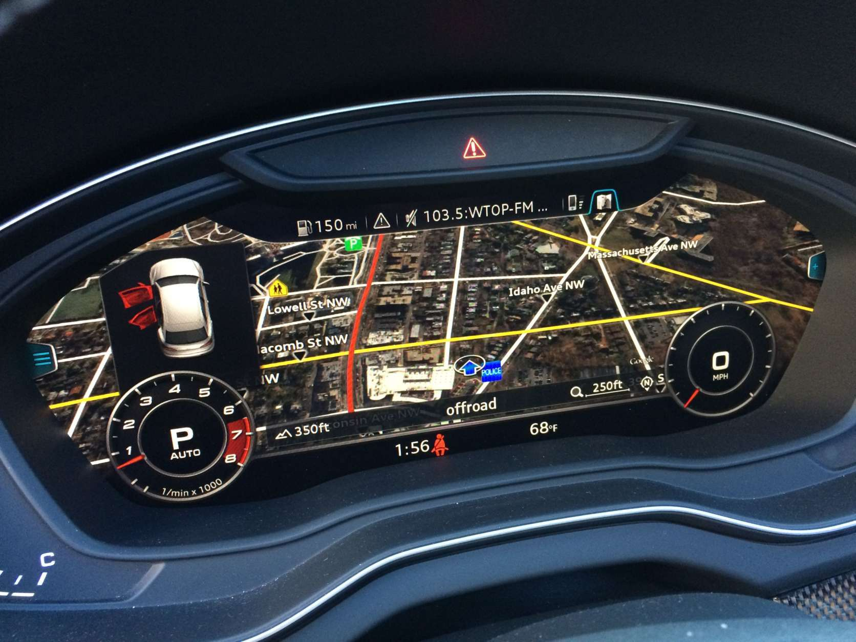 Audi has made adding technology a priority for 2018. The slick, virtual cockpit is part of the Prestige package, which stacks $4,200 onto the price but adds to a cool dash: a glass cockpit lock replacing the mechanical gauges with virtual ones. You can even have the map there so you don't have to look at the center dash. (WTOP/Mike Parris)