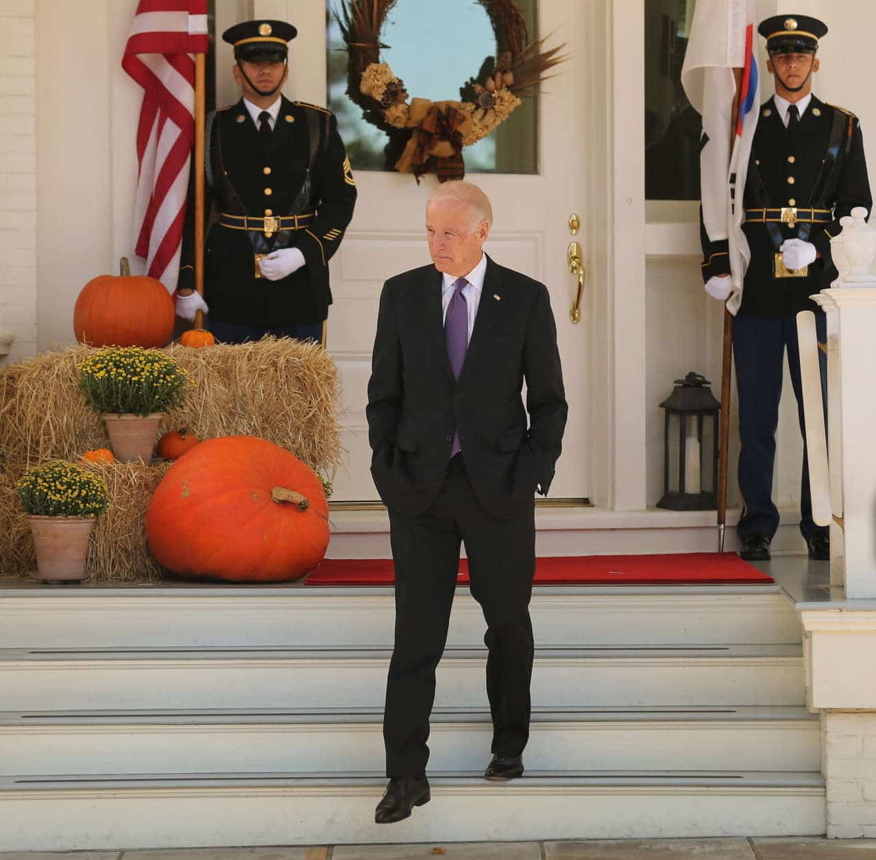 WASHINGTON, DC - OCTOBER 15:  U.S. Vice President Joe Biden steps onto the front porch of his residence before welcoming President Park Geun-hye of South Korea to the Naval Observatory for lunch October 15, 2015 in Washington, DC. Park, South Korea's first female president, met with Biden and will visit the White House Friday for a meeting with President Barack Obama, where the two leaders are expected to talk about the denuclearization of the Korean Peninsula.  (Photo by Chip Somodevilla/Getty Images)