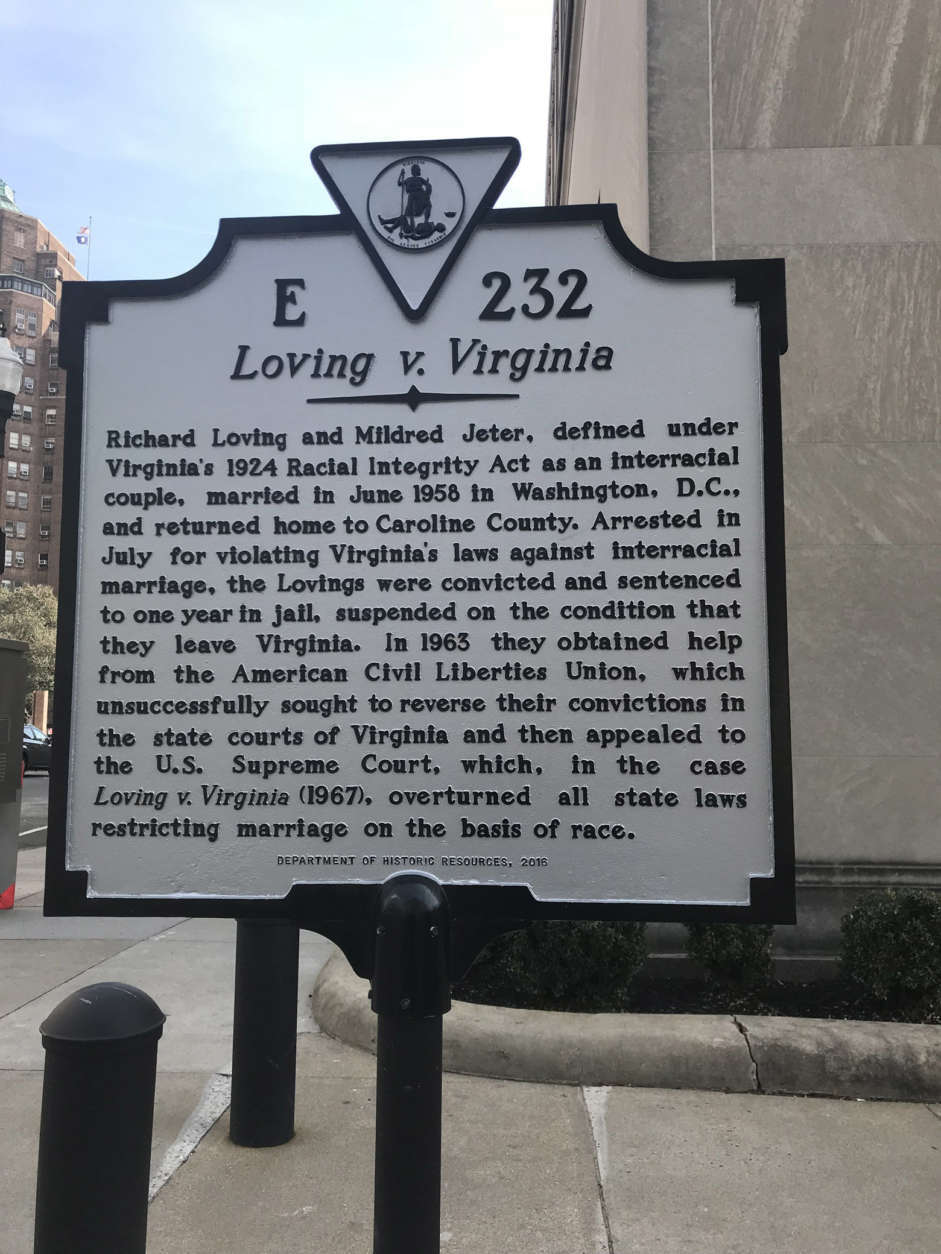A sign commemorating the Loving case was installed on the 50th anniversary of the lawsuit in front of the old Virginia Supreme Court building in Richmond, Virginia. (Courtesy Capital News Service)
