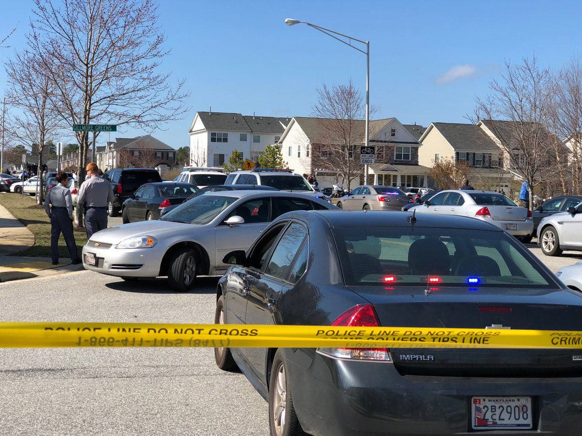 The shooting led to a massive police response in two locations. There were between 30 and 50 officers on Chadds Ford Road in Brandywine, Maryland, where the officer lost his life, WTOP's Megan Cloherty reported at the scene. There was also a major police presence on MD-210. (WTOP/Megan Cloherty)