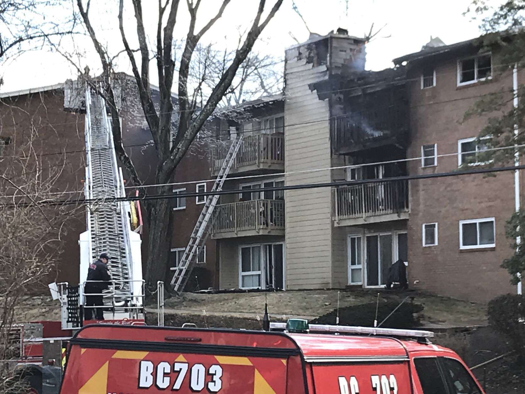 Firefighters say no one was injured in the fire at the Fireside Park Apartments, in Rockville. (WTOP/Michelle Basch)