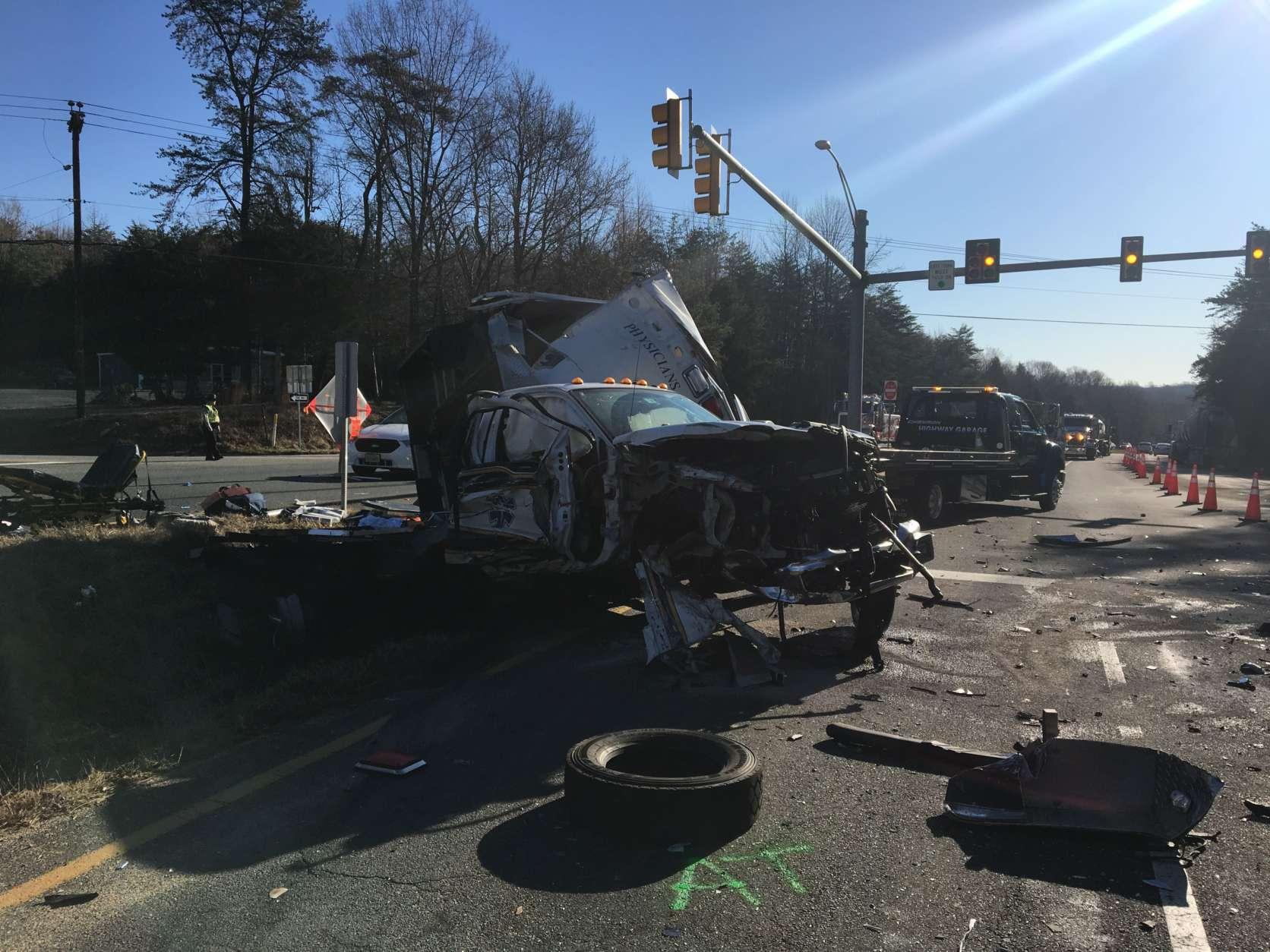 Tanker truck and ambulance crash in Stafford Co