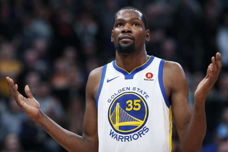 f6c8dda0f84 Golden State Warriors forward Kevin Durant reacts to calls from fans at the  close of the team s NBA basketball game against the Denver Nuggets on.