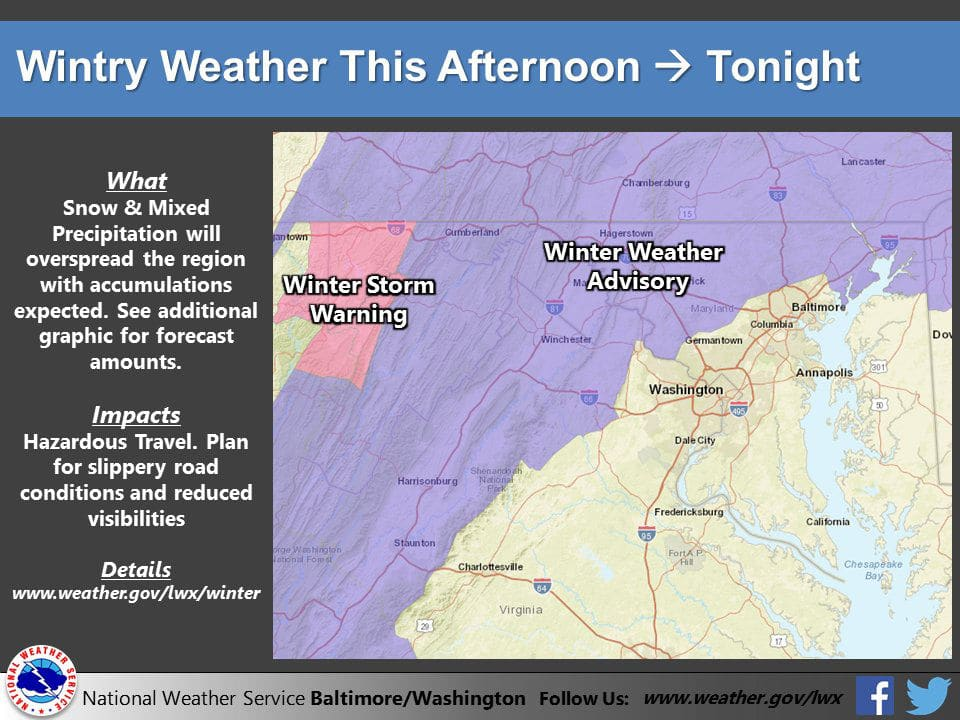 Snow and mixed preciptation will overspread the area with some accumulation expected. Plan for slippery roads and reduced visibility. (Courtesy National Weather Service)