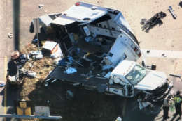 Photo shows an ambulance after an serious accident