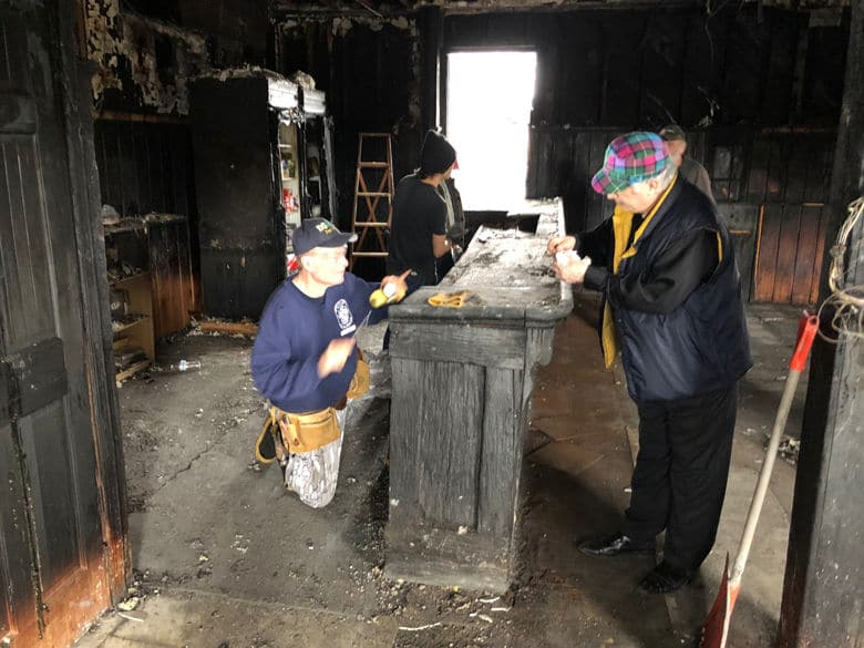 All hands to the deck in Hank Dietle's following the Feb. 14 fire. (WTOP/John Aaron)