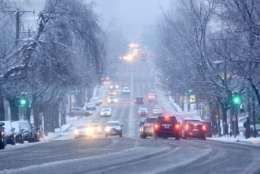 The snow and sleet made roads slushy Saturday. (WTOP/Dave Dildine)