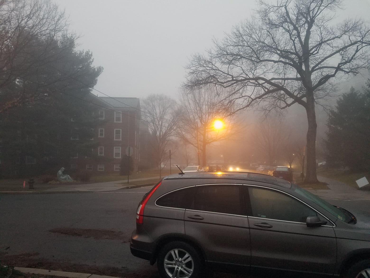 Dense fog covered the Washington area early Saturday morning. (WTOP/Will Vitka)