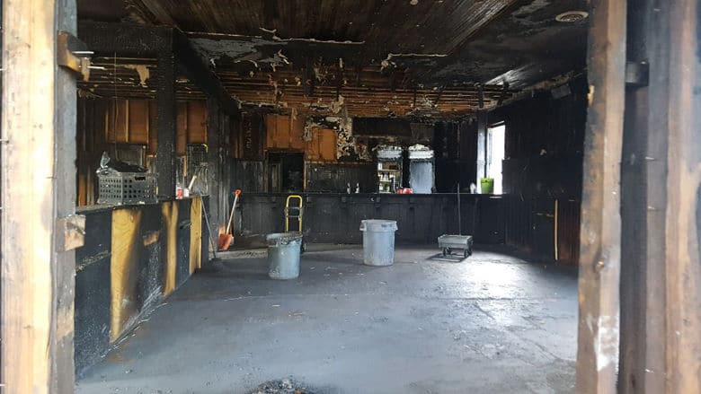 Restoration work begins in Hank Dietle's in the aftermath of the Feb. 14 fire. (Courtesy Aaron Bay of Bay Brothers)