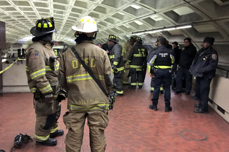 When a Red Line train derailed in January, transit police and a Metro operator were unable to communicate what was happening for several minutes due to radio failure. (Courtesy D.C. Fire & EMS)