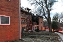 Montgomery County firefighters were called around 1:30 p.m. to the garden-style Fireside Park Apartments in the 700 block of Monroe Street. (Courtesy Montgomery County Fire and Rescue)