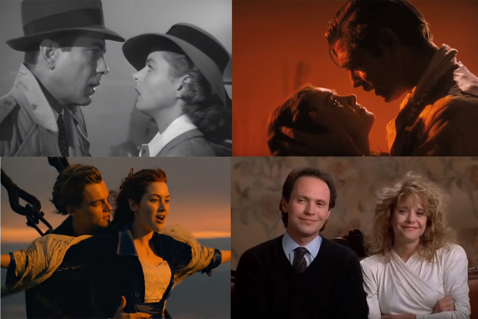 """Casablanca,"" ""Gone with the Wind,"" ""When Harry Met Sally"" and ""Titanic"" are among the best movie romances. (WTOP collage via YouTube)"
